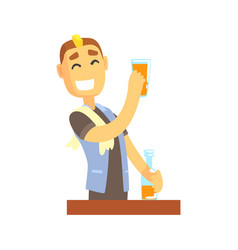 smiling bartender man character standing at the vector image