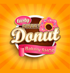 sweet donut label vector image vector image