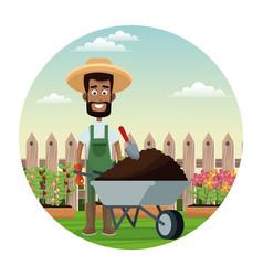 african farmer man straw hat wheelbarrow earth vector image