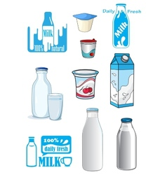 Cartoon milk products and drinks vector image