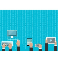 Human hands with devices and binary digits vector image vector image