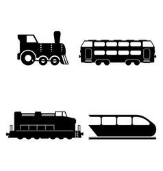 isolated trains silhouettes set vector image vector image
