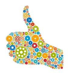 Thumbs Up Symbol Which is Composed of Colour Gears vector image