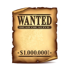wintage wanted poster isolated vector image vector image