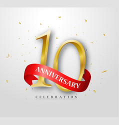 10 years happy anniversary banner celebration vector image