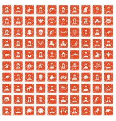 100 avatar icons set grunge orange vector