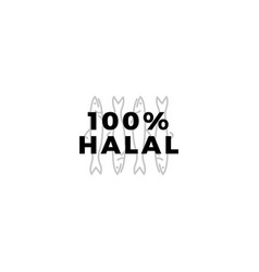100 halal fish meat sign badge label logo icon vector