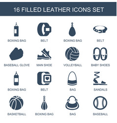 16 leather icons vector