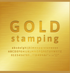 3d alphabet gold stamping font effect vector image