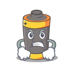 Angry battery mascot cartoon style vector