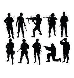 army force silhouettes vector image