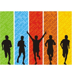 Athletes on a colored background vector