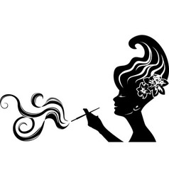 attractive smoking woman vector image