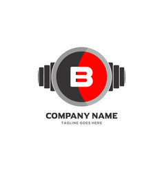 B letter logo design icon fitness and music symbol vector