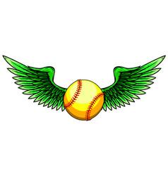 baseball ball flying with angel wings vector image