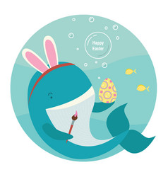Blue whale - easter bunny vector