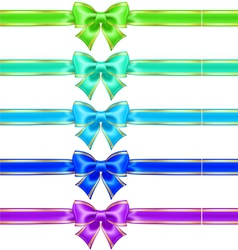 Bows with edging and ribbons in cool colors vector image
