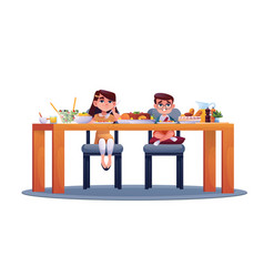 boy and girl have dinner at table isolated kids vector image