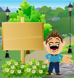 Boy in Park with Sign 6 vector
