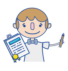 Boy with notebook and hairstyle design vector