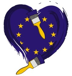 brush love European flag vector image