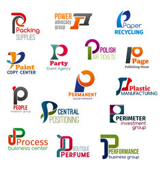 Business icons letter p corporate identity vector