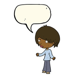Cartoon confused woman with speech bubble vector
