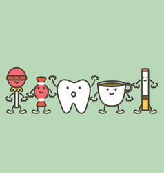 Causes of tooth damage decay and yellow teeth vector