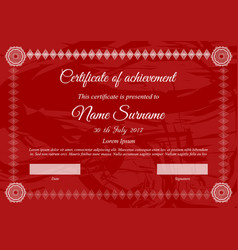 Certificate template in red colors with white text vector