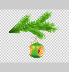 christmas tree branch with glassy green ball vector image