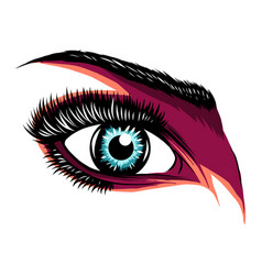 Colorful purple woman s eye vector