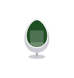 Colorful white egg chair with green inside lining vector