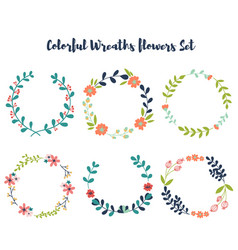 Colorful wreaths floral hand drawn design vector
