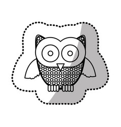contour sticker owl icon vector image