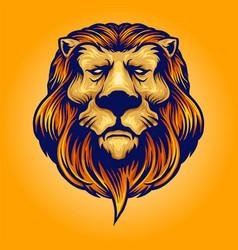cool head lion logo vector image
