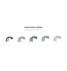 Curve right arrow icon in different style two vector