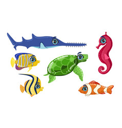 cute sea creatures collection colorful adorable vector image
