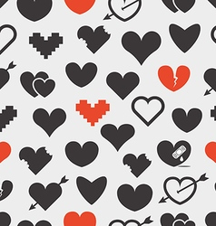 Different abstract hearts seamless pattern vector image