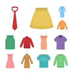 different kinds of clothes cartoon icons in set vector image