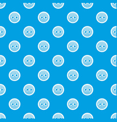 disco button pattern seamless blue vector image