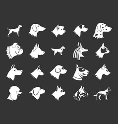 dog icon set grey vector image