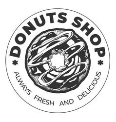 donut shop vintage round label vector image