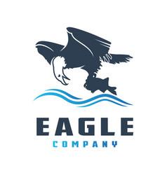 eagle logo design preys on fish vector image