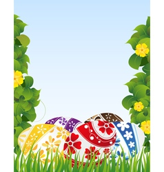 Easter eggs and yellow flowers vector image