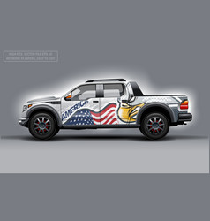 Editable template for wrap suv with usa flag and vector
