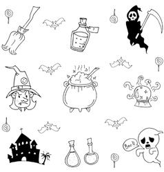 Element halloween ghost castle in doodle vector