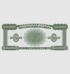 Fictional us paper money with a face value 50000 vector