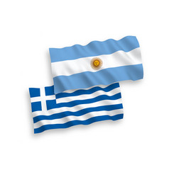 Flags greece and argentina on a white vector