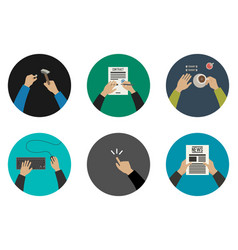 Flat icons with working hands vector