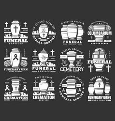 Funerary urns cremation service funeral cemetery vector